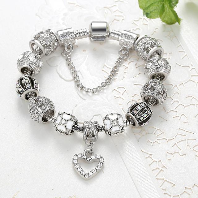 Silver  Bracelet DIY 925 Crystal