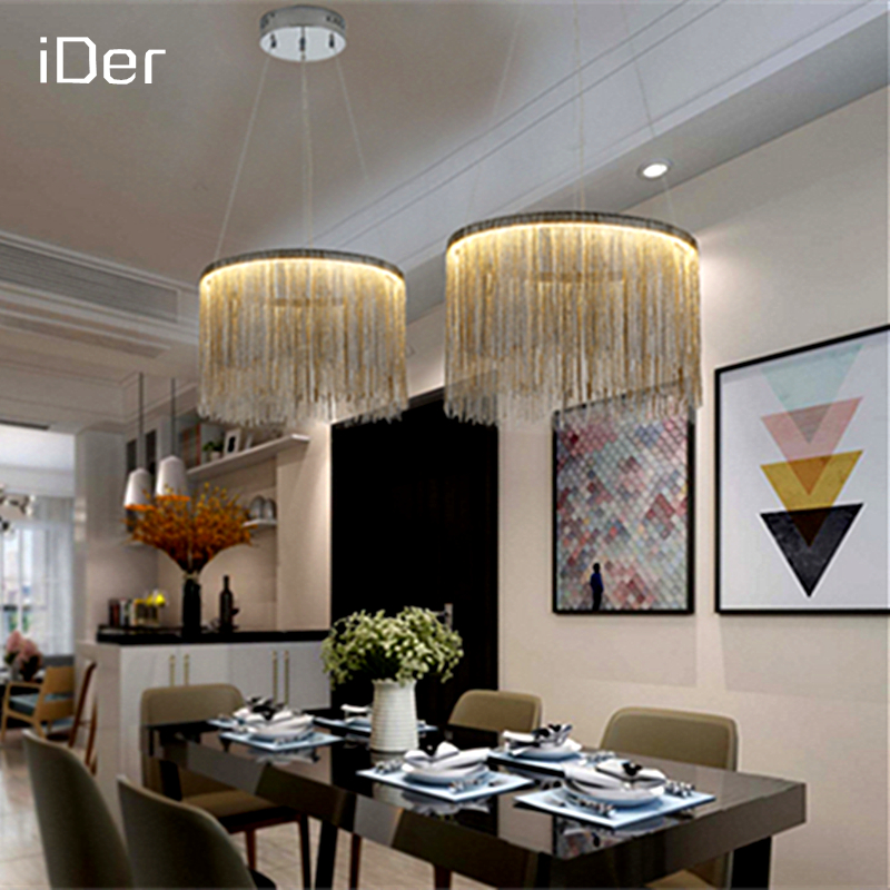 Modern simple atmosphere chain chandelier Nordic bedroom living room restaurant lights high - end villa art personality lamps