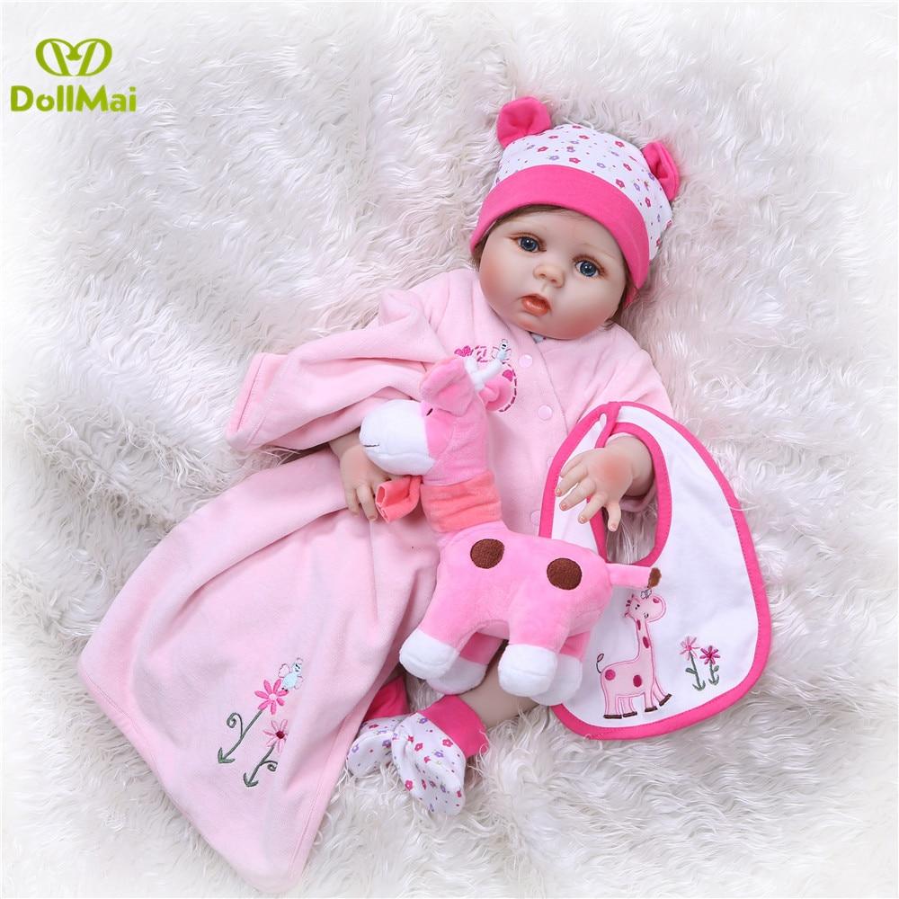 DollMai 23inch Lifelike reborn dolls babies Full silicone fashion rose pink menina Toys For Girls bebe gift reborn bonecas toy - 5