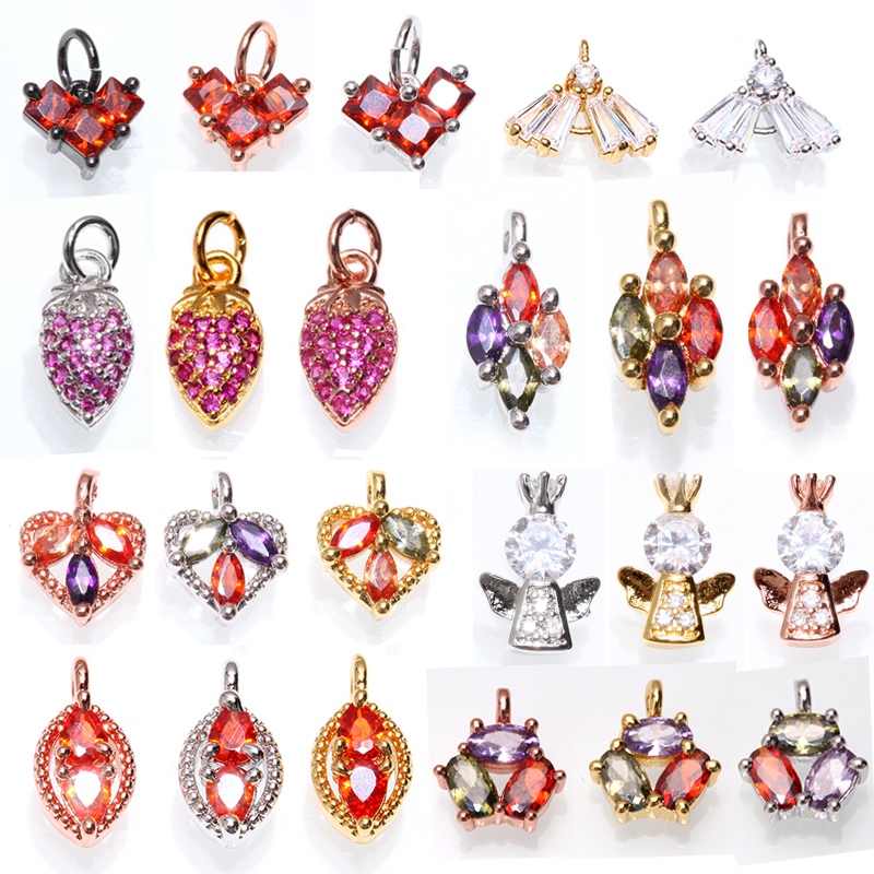 Beads Diy Jewelry Making Accessories Clear Zircon Bead Heart Triangle Crown Drop Pendant For Women Charm Necklace Bracelet & Bangle Beneficial To Essential Medulla