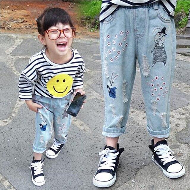 Baby girl autumn Korea cotton jeans trousers new design cartoon rabbit girl leisure children jeans ripped jeans