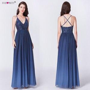 Image 4 - Длинные платья для выпускного вечера 2020 EP07455OD Элегантные платья трапециевидной формы с v образным вырезом из тюля для свадебной вечеринки с блестками Vestidos De Fiesta Elegantes Largos