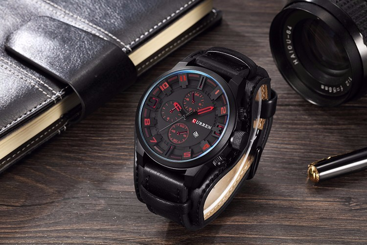 Curren 8225 Army Military Quartz Mens Watches Top Brand Luxury Leather Men Watch Casual Sport Male Clock Watch Relogio Masculino 16