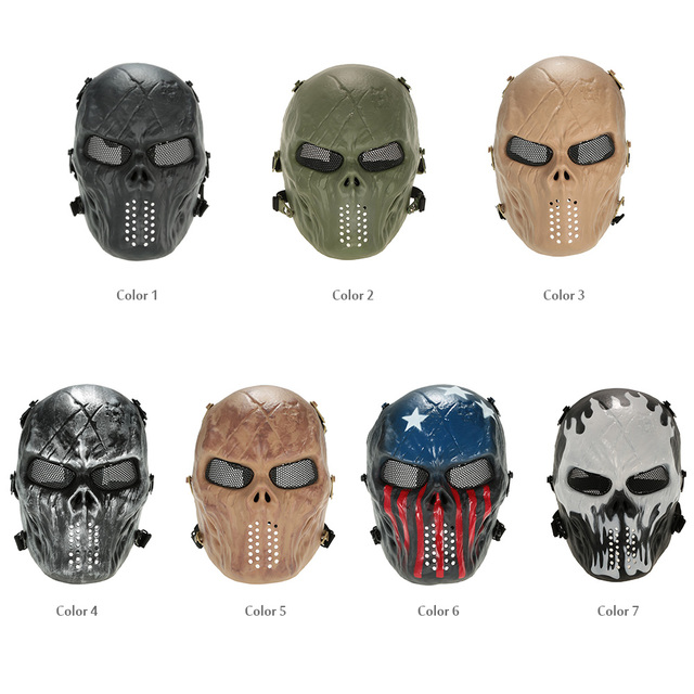 Outdoor Wargame Tactical Mask Full Face Airsoft Paintball CS Army Mask Halloween Party Cosplay Protective Face Mask