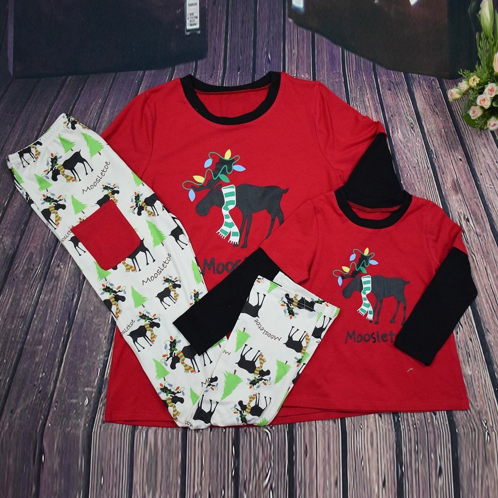 ZOGAA Hot Christmas Cartoon Parent-child Suit Home Service Parent-child Children Sleepwear Nightwear Home Wear Mom Dad Baby Set