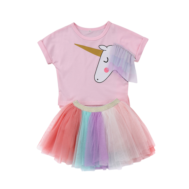 7fa1cc9ad6b6c 2018 Kids Baby Girl Unicorn Top Short Sleeves T-shirt Lace Tutu Lace Skirt Outfits  Set Clothes Cute Colorful Summer