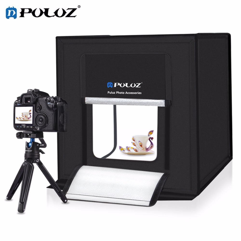 PULUZ 60*60cm Foldable LED light Room Studio Photo Box for photography accessories LightBox shooting Tent Kit with backdrop
