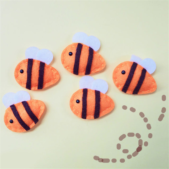 Wholesale 5 Pieces Lots Wool Felt Diy Craft Bee Design For Mobile