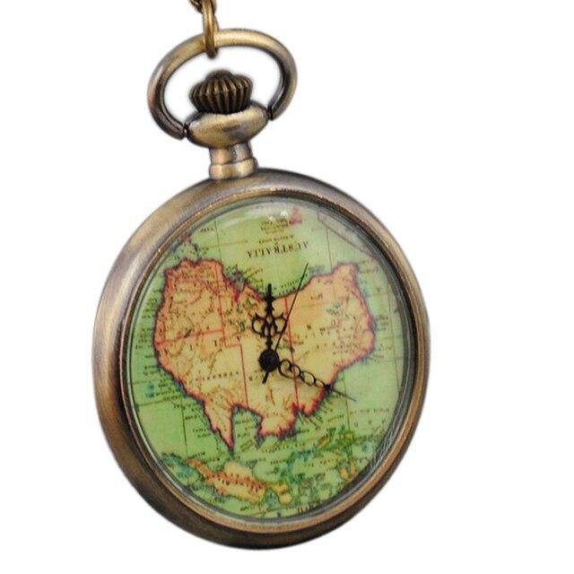 bronze tinted glass australia map earth world traveler traveling quartz pocket watch pendant necklace mens womens