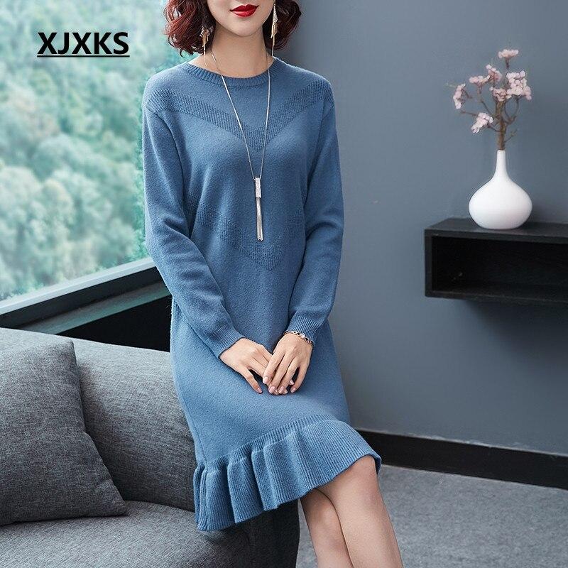 XJXKS Automne et d'hiver nouvelle mode laine à tricoter femmes chandail robes haute qualité unique ourlet femme à manches longues robe