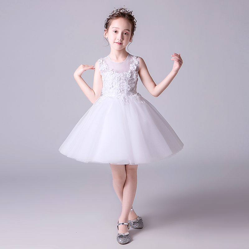 White Floral Kids Formal Dress Ball Gown Flower Girl Dresses for Wedding Tulle Sleeveless Princess Birthday Party Gowns G202 beibehang deerskin line papel de parede 3d flocking wallpaper for bedroom living room home decoration 3d wall paper roll palace
