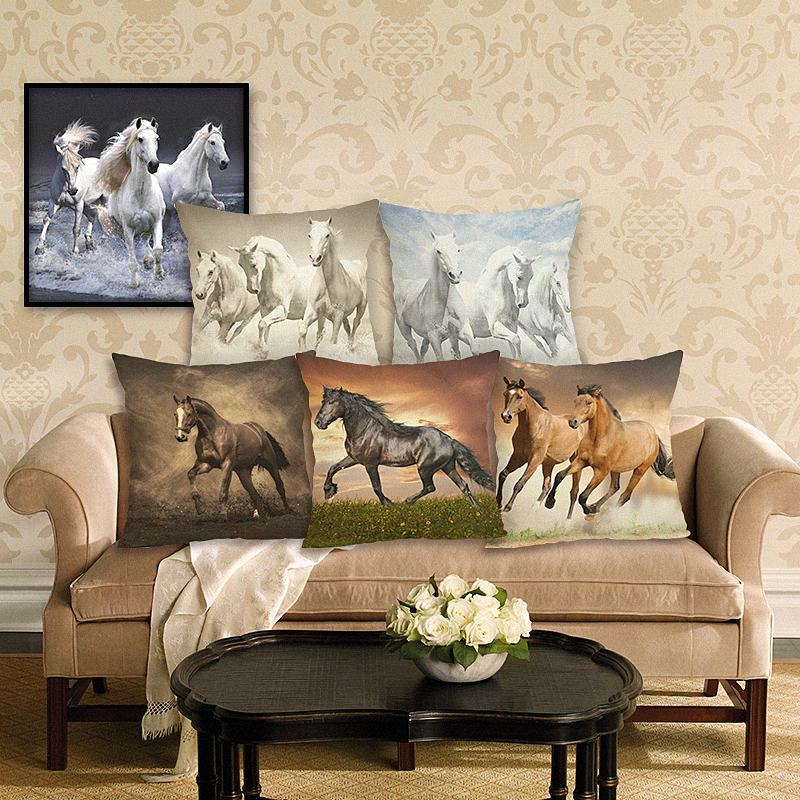 Hoge kwaliteit onstuimige paard nieuwe thuis decoratieve kussenhoes sofa gooien kussensloop vierkante cojines katoen linnen kussenhoes