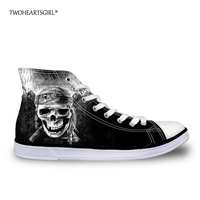 Twoheartsgirl Classic Print Skull High Top Canvas   Shoes   Stylish   Vulcanize     Shoes   for Women Casual Ladies Ankle Canvas   Shoes