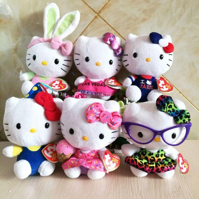 Ty Original Hello Kitty Plush Toy Leopard Skirt Glasses Cat Kawaii Little Girls Gift Birthday Hat Kids Hot Sale