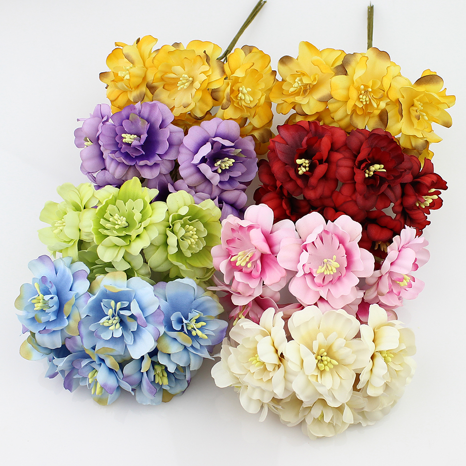 Hot Sale 5cm Silk Artificial Plum Flowers Bouquet For Diy