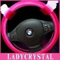 Ladycrystal 38 CM Bonito Dos Desenhos Animados Suave Tampa Da Roda de Direcção Do Carro de Pelúcia Cobertura de Volante Cobre Para BMW Universal