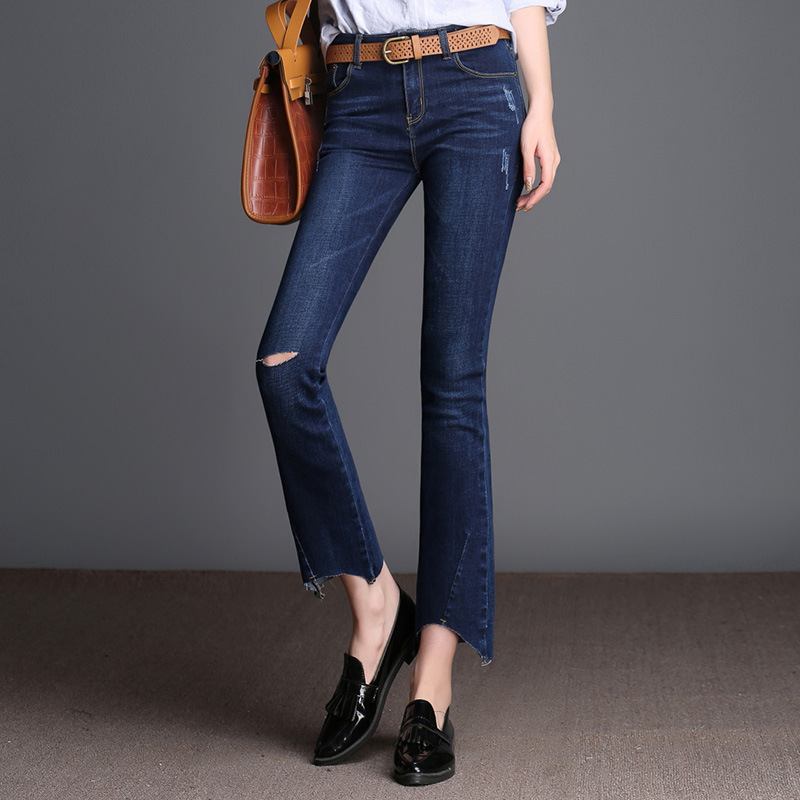 New Arrival Hole jeans Woman Female Flare Trousers jeans Plus Size Ankle Length Pants For Women Spring Slim High Waist Pants  40 spring new women jeans high waist ankle length slim pencil pants fashion female jeans 3 color plus size jeans femme 2017