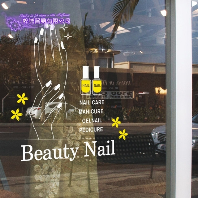 DCTAL Nail Art Sticker Beauty Salon Bussiness Hours Decal Shop Store ...