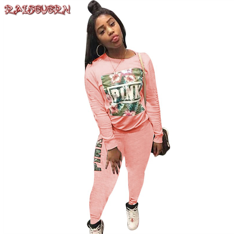 RAISEVERN Floral Pink Letter Print 2 Piece Outfits Autumn O Neck Full Sleeve Tops And Bodycon Long Pants Women White Tracksuits