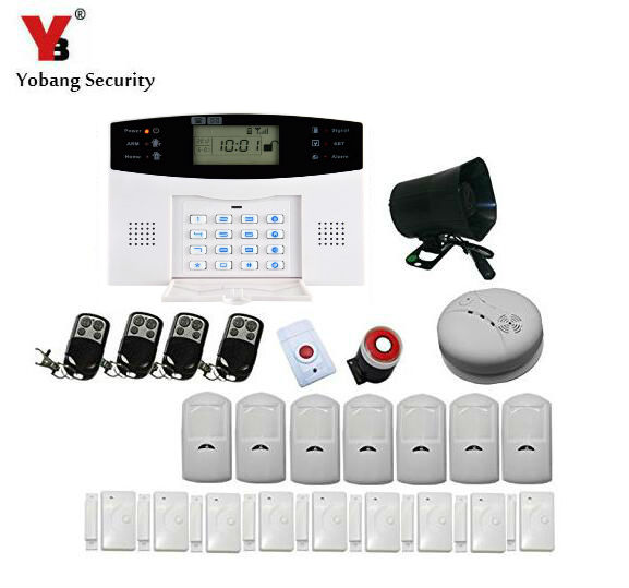 Yobang Security-Wireless Alarm House Home Security System SMS Auto Dialer GSM alarm system With PIR Motion Sensor Smoke Detector pir motion sensor alarm security detector wireless ceiling can work with gsm home alarm system 6pcs cpir 100b