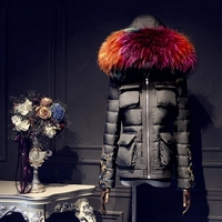 Real Fur collar 2017 Winter Jacket Women Down jackets Women's Twinsets down coat long outerwear downs Vest+underwear parka