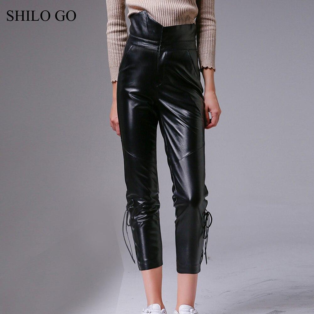 SHILO GO Leather pants Womens Autumn Fashion sheepskin genuine leather pants high waist sexy zipper adjustable Black pencil pant