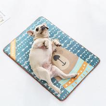 Pet Summer Cooling Mat Viscose Cushion Sleeping Non-slip Printed Skin-friendly Nest Pad Bed For Small Medium Large Dog&Cat