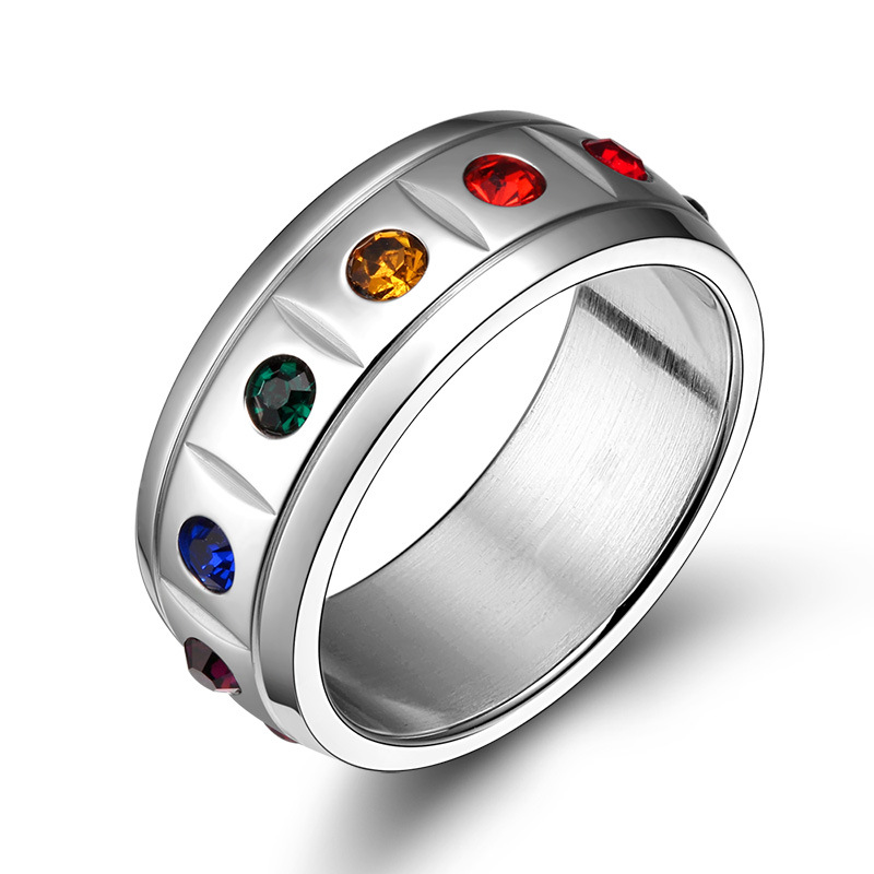 wholesale rainbow gay pride jewelry stainless steel crystal wedding rings for women and menchina - Gay Mens Wedding Rings