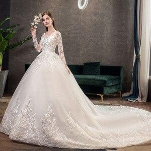 Image 2 - 2021 חדש Vintage O צוואר מלא שרוול שמלות כלה אשליה פשוט תחרה רקמה תפור לפי מידה כלה שמלת Vestido דה Noiva L