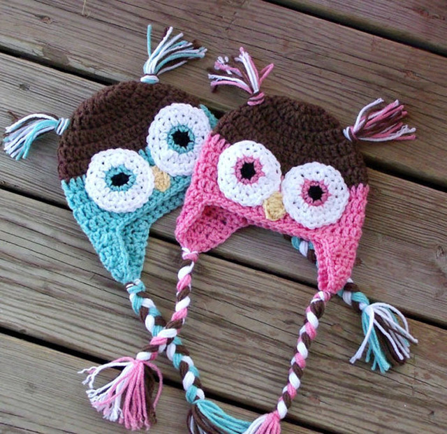 Owl Twin Hats Crochet Owl Hat Baby Hats Photo Props Boy Girl Hat
