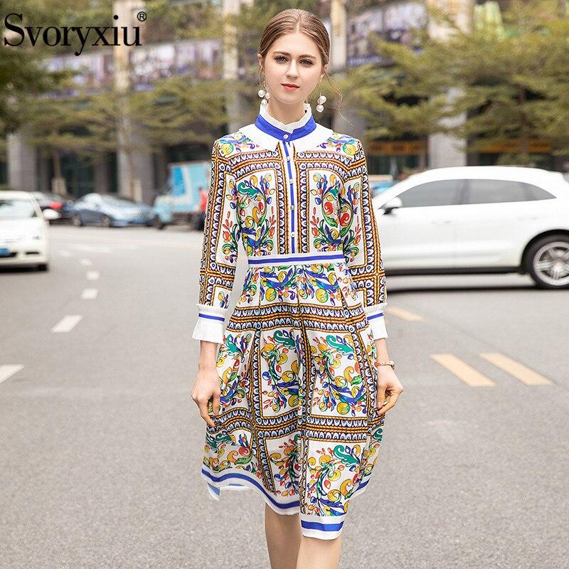 Svoryxiu Summer Fashion Runway Dresses Women s Long Sleeve Flowers Printing Elegant Party Midi Dress