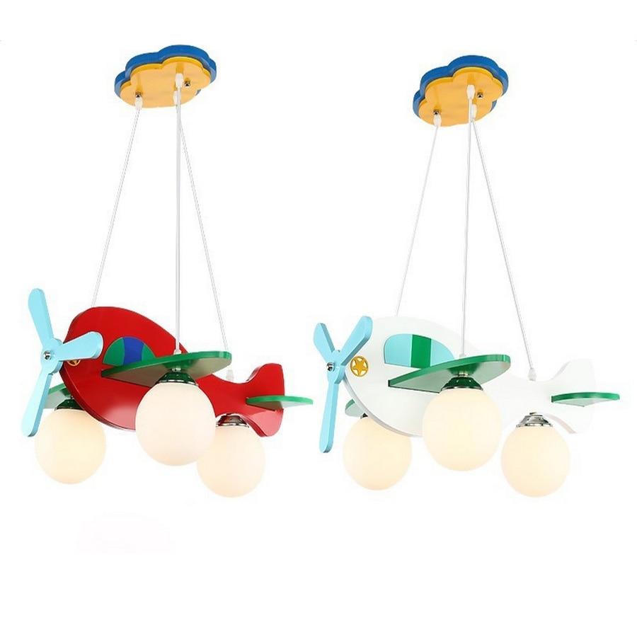 Baby Room Cartoon Led Pendant Lights Glass E27 LED Lamp 110 220v Acrylic Aircraft Suspension Pendant