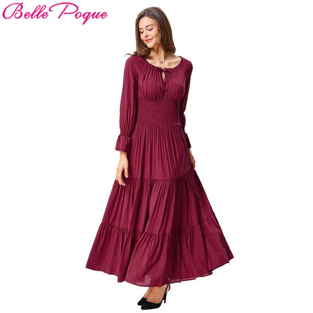 Women Meval Long Maxi Dresses 2018 Retro Vintage Sleeve Cotton Renaissance Victorian Gothic Summer Ruffle