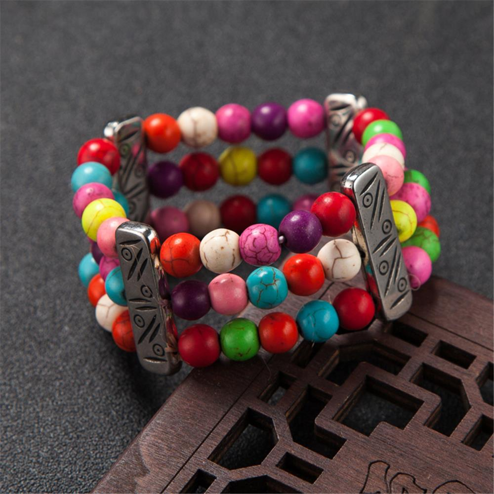 Boho 3 Layers Natural Stone Beads Colorful Balls Chain Bracelet For Women Ethnic Sting Elastic Length And Digestion Helping