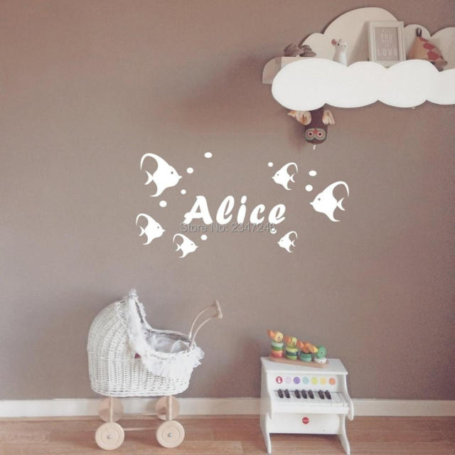 DIY Custom Made Fish Wall Sticker Personalized Baby Name Vinyl - Custom vinyl decals diy