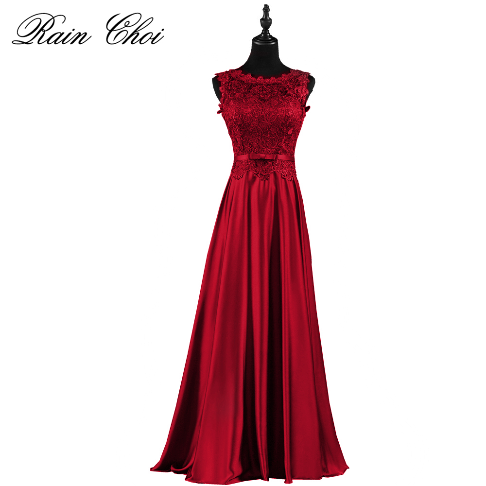 Dark Red Formal Bridesmaid Dresses Long Lace Satin Bridesmaids Dress Wedding Party Gowns Plus Size 2020