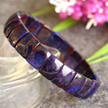 Genuine Natural Blue Sugilite Stretch Finish Bracelet Flat Rectangle beads 8.5x12mm 04382