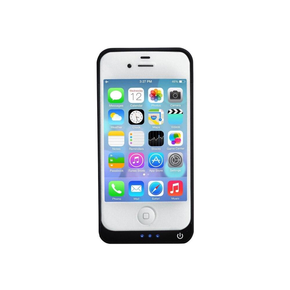 imágenes para Cubierta Del Caso el Banco Para el iphone 4 4S 4G 4000 mAh Portátil Cargador de Batería de reserva Negro Color Blanco Extender la batería Caso con el Regalo