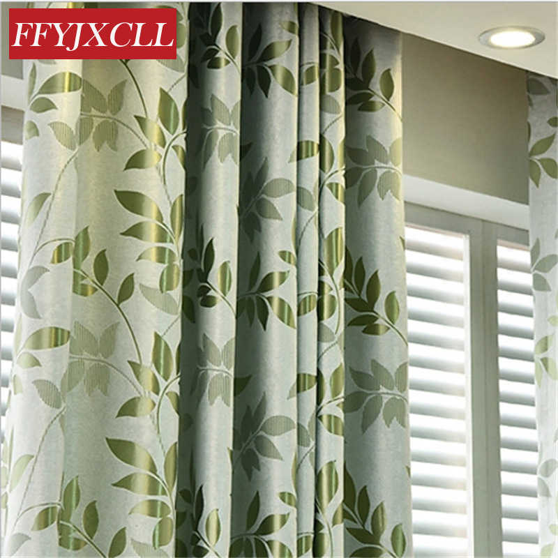 Green Leaf Printed Blackout Curtains Double Sided Jacquard Curtains for Living Room Bedroom Window Tulle for Kitchen