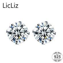 LicLiz 100% 925 Sterling Silver CZ Stud Earrings For Women Jewelry Simple Cubic Zircon Ear Piercing Post Earrings Classic LE0285