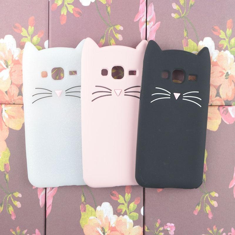 Cute Cartoon Japan Glitter Beard Cat Case for Samsung Galaxy J1 Ace J2 2016 J3 Prime Emerge J5 J7 2017 Phone Cover