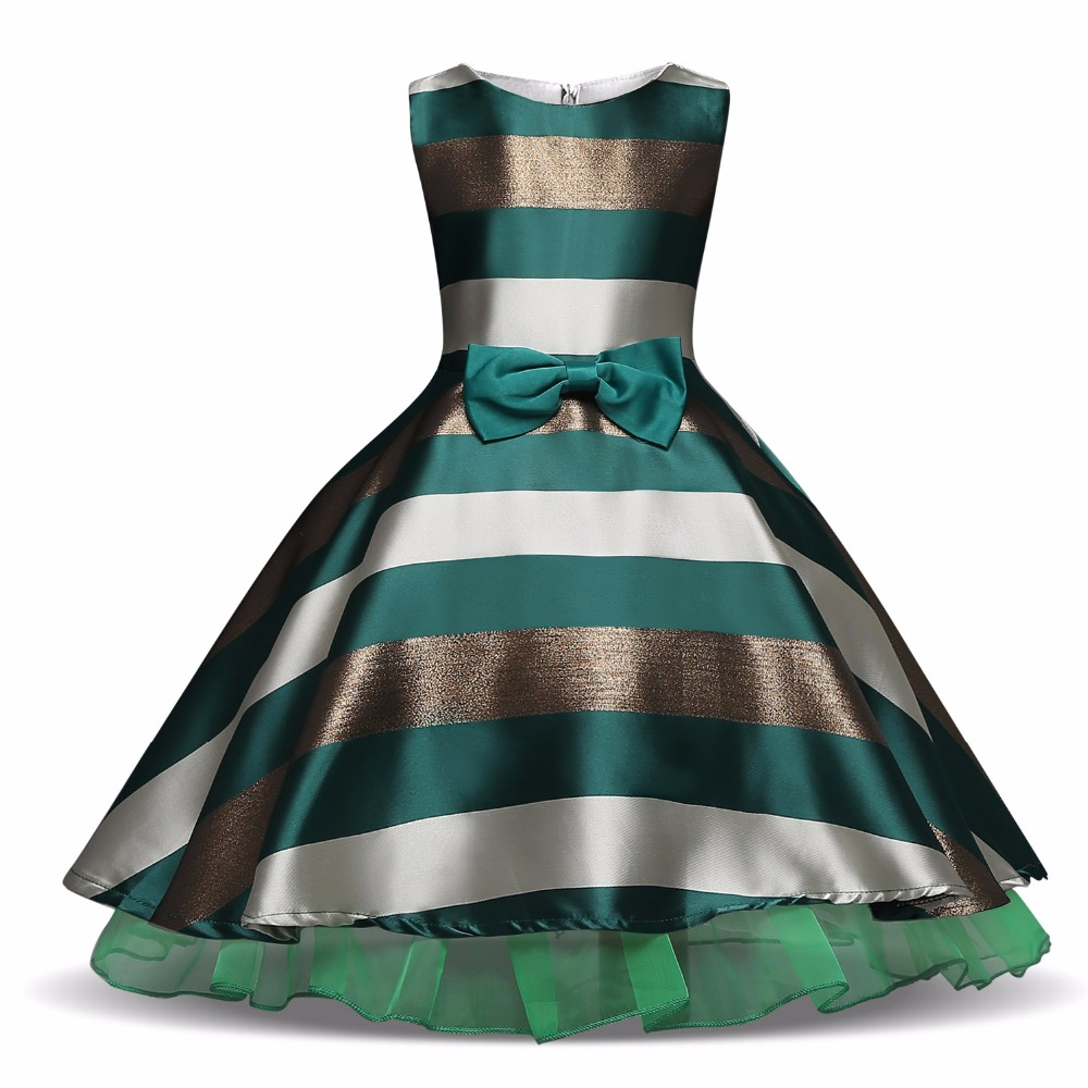 Kids Baby Girl Striped Dresses For Girls Formal Wedding Dress Princess Party Ball Gown Costume Children Girls Clothing for 3-10T baby kids princess christmas dresses for girl party costume children s girl clothing formal teenagers prom gown size 2 13 years