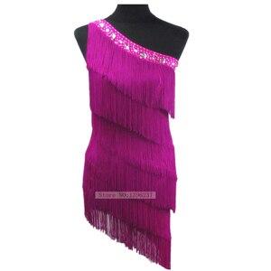 Image 5 - Женское платье для латиноамериканских соревнований, танцевальное платье с одним открытым плечом в европейском стиле, юбка с бахромой для латиноамериканских соревнований, новинка 2021