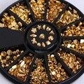 12 Padrões/Caixa Banhado A Ouro Pregos de Metal 3D Decoração de Unhas Em Roda Manicure Nail Art Decoração