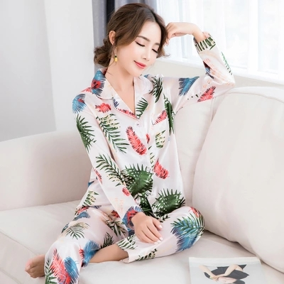 Women Sleep Lounge Satin Pajama Set Casu