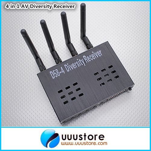 Boscam D58-4 5.8G Wireless Video Receiver 5.8GHZ Four Channel 4Ch 500MW 12V Diversity AV Receiver boscam fpv 5 8ghz 4 in 1 d58 4 audio video diversity receiver