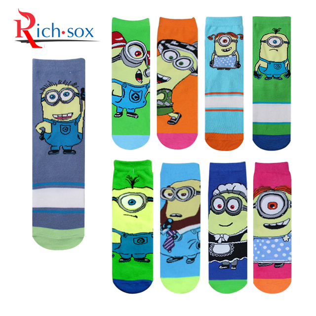 d3a0c4dba0d 1 Pair Hot Sell Despicable Me Minions Socks Contrast Color Lovety Cartoon  Cotton Ankle Socks Women Men Happy Cute Socks