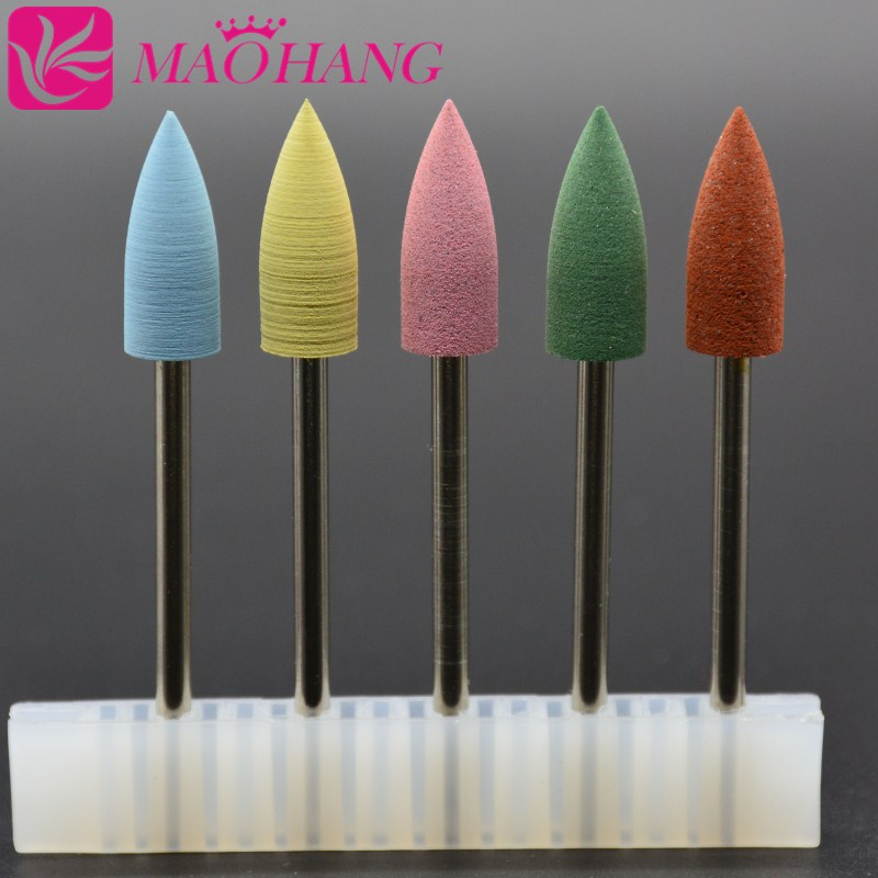 5pcs/set Silicone Polisher Grinders Cutter Nail Drill Bits For Electric Manicure Machine To Smoothing And Intial Polishing