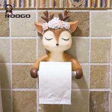 Roogo Cute Deer Head Paper Holder Toilet Ceramic Bathroom Decoration Dispenser Creative Towel American Style