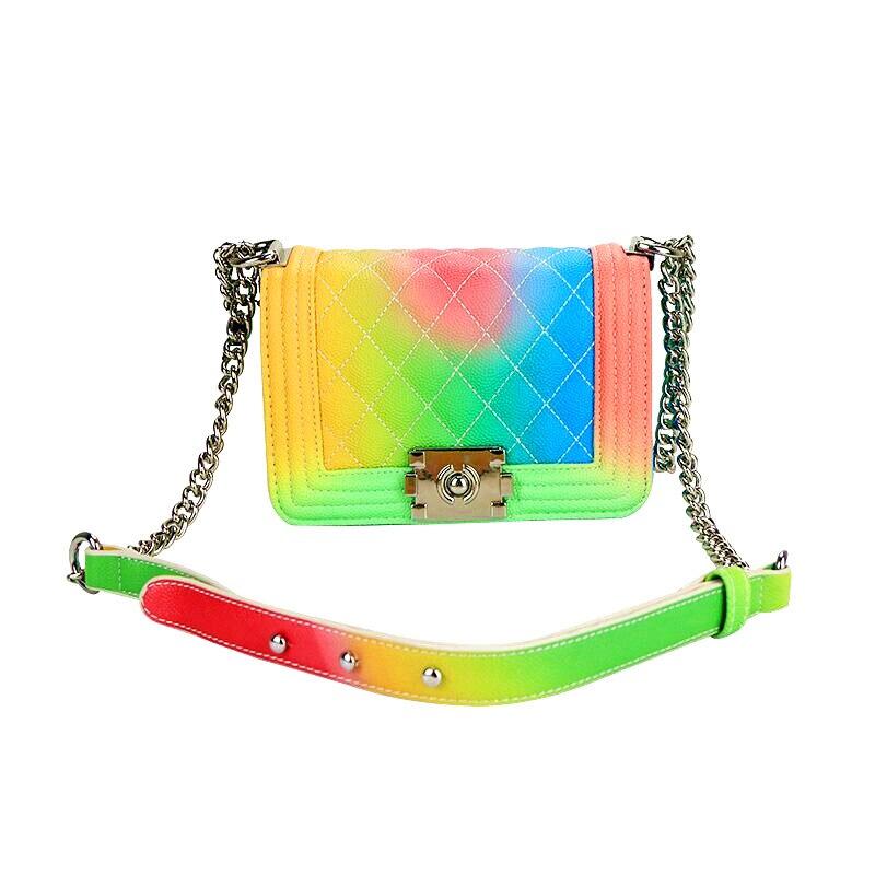 TANGDE Роскошные Радуга Металлические цепи дизайнерские клатч женские сумки на ремне и Crossbody сумки Высокое качество PU лоскут Bolsos